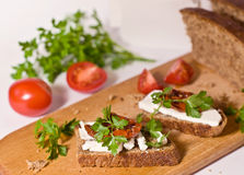 Bread with sun dried tomatoes and mozzarella Royalty Free Stock Photography