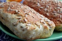 Bread with sunflower seeds. Some homemade bread of wheat flour with sunflower seeds Stock Image