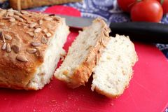 Bread with sunflower seeds. Some homemade bread of wheat flour with sunflower seeds Stock Images