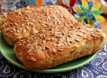 Bread of sunflower seeds. Some homemade bread of wheat flour with sunflower seeds Stock Image
