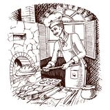 Bread and sweet bun or croissant. culinary boss or chef. hot brick oven. Engraved hand drawn in old sketch and vintage style for label and menu. interior of vector illustration