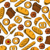 Bread and sweet buns seamless pattern backgorund Royalty Free Stock Images