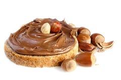 Bread with sweet chocolate hazelnut spread royalty free stock photography