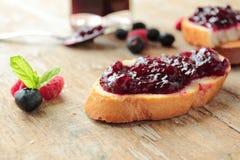 Bread with sweet jam Stock Photo