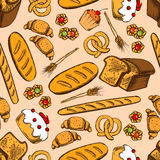 Bread and sweet pasty seamless pattern Stock Photography
