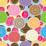 Bread sweet roll paste seamless pattern. Illustration design bread sweet roll paste filling chocolate strawberry sauce decor colors background seamless pattern royalty free illustration