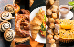 Bread and sweets. From different cuisine (collage Royalty Free Stock Photos