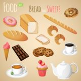 Bread and sweets set. Fresh natural bread and sweets set with tea and coffee cup isolated vector illustration royalty free illustration