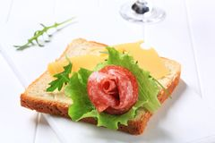 Bread with Swiss cheese and salami Royalty Free Stock Photo
