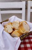 Bread on table, gingham texture. Royalty Free Stock Photos