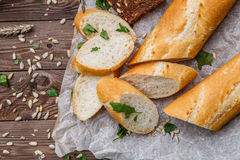 Bread on table with seeds Stock Image