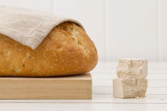 Bread with a tablecloth and baker's yeast Stock Photography