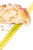 Bread and tape measure stock photos