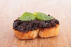 Bread and tapenade Royalty Free Stock Photos