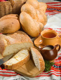Bread And Tea. Still life with bread and tea royalty free stock images