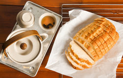Bread and tea Royalty Free Stock Photos
