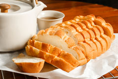 Bread and tea Royalty Free Stock Image