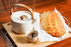 Bread and tea Stock Photography