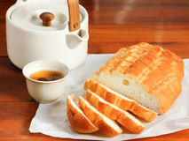 Bread and tea Stock Photos