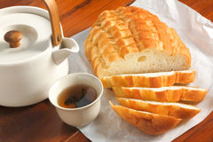 Bread and tea Royalty Free Stock Photo