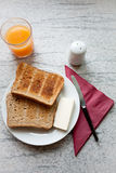 Bread toast for breakfast Stock Photography
