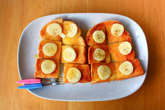 Bread toast with honey Stock Photos