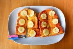 Bread toast with honey Stock Photos