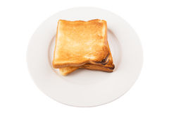 Bread Toast On White Plate II Stock Images