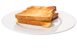Bread Toast On White Plate III Royalty Free Stock Photography