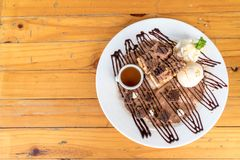 bread toasted with vanilla ice-cream and chocolate brownies Royalty Free Stock Photography