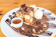 bread toasted with vanilla ice-cream and chocolate brownies Royalty Free Stock Photo