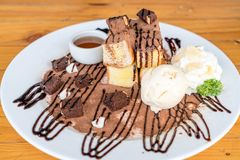 bread toasted with vanilla ice-cream and chocolate brownies Stock Photos