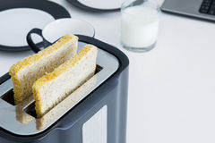 Bread with toaster in the breakfast table Stock Photo