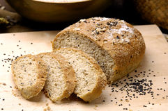 Bread toasts. Loaf  of whole wheat-cloe up Stock Photos
