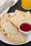 Bread and toasts with jam Royalty Free Stock Photos