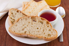 Bread and toasts with jam Stock Images