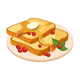 Bread Toasts With Melting Butter And Honey Plate Cartoon Illustration. Cute Colorful Honey Related Vector Sticker Isolated On White Background Royalty Free Stock Photo