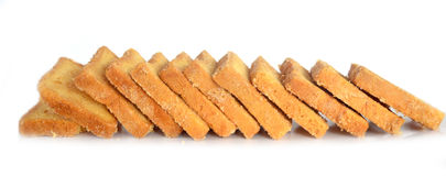 Bread Toasts  on White Background Stock Images
