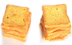 Bread Toasts  on White Background Royalty Free Stock Photo