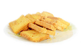 Bread Toasts  on White Dish Stock Images