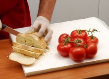 Bread and tomato. Royalty Free Stock Photo