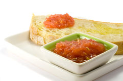 Bread with tomato. Olive oil and garlic Royalty Free Stock Image