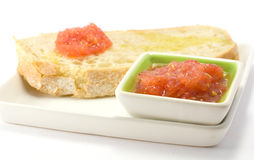Bread with tomato. Olive oil and garlic Royalty Free Stock Photography