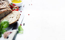 Bread, tomato, basil and olive oil Royalty Free Stock Photo