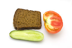 Bread,tomato and cucumber Royalty Free Stock Photo