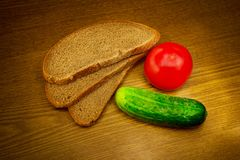 Bread, tomato and cucumber Royalty Free Stock Images