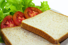 Bread. And tomato and Lettuce Stock Photo