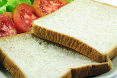 Bread. And tomato and Lettuce Stock Photography