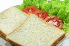 Bread. And tomato and Lettuce Royalty Free Stock Images
