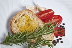Bread and tomato oil Royalty Free Stock Photography